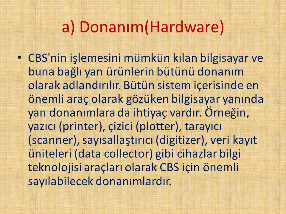 a) Donanım(Hardware) CBS'nin işlemesini mümkün kılan bilgisayar ve buna bağlı yan ürünlerin bütünü donanım olarak adlandırılır. Bütün sistem içerisind