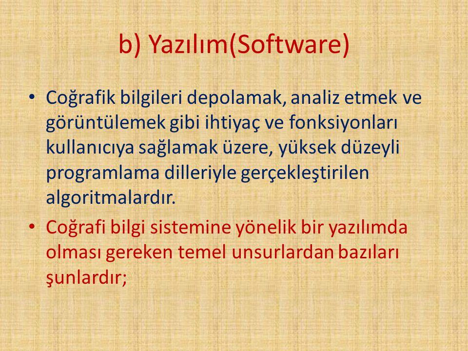 b) Yazılım(Software) Coğrafik bilgileri depolamak, analiz etmek ve görüntülemek gibi ihtiyaç ve fonksiyonları kullanıcıya sağlamak üzere, yüksek düzey