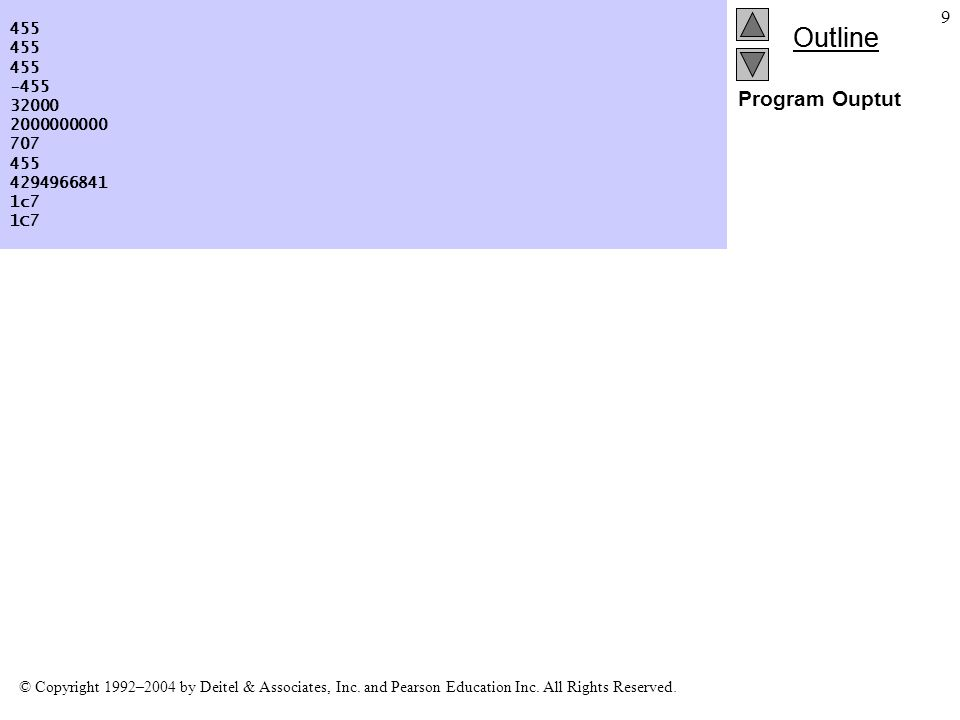 Outline © Copyright 1992–2004 by Deitel & Associates, Inc.