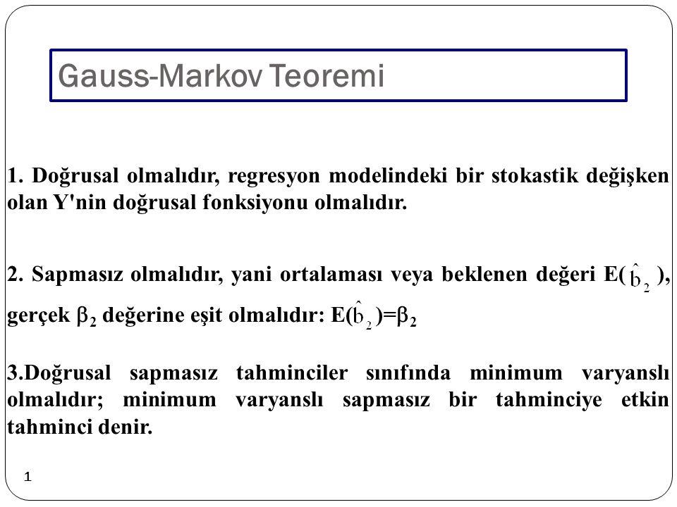 1 Gauss-Markov Teoremi 1. Doğrusal olmalıdır, regresyon modelindeki bir stokastik değişken olan Y'nin doğrusal fonksiyonu olmalıdır. 3.Doğrusal sapmas