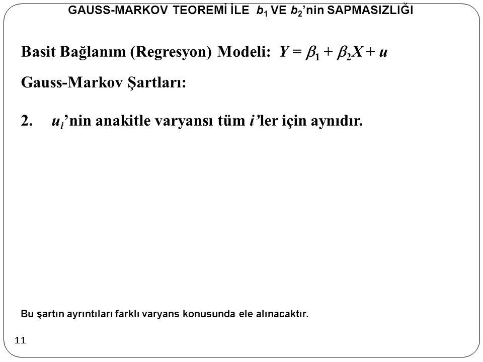 Basit Bağlanım (Regresyon) Modeli: Y =  1 +  2 X + u Gauss-Markov Şartları: 2.u i 'nin anakitle varyansı tüm i'ler için aynıdır. Bu şartın ayrıntıla