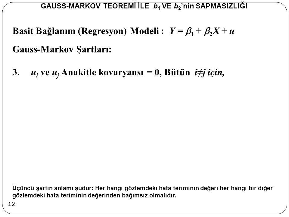 Basit Bağlanım (Regresyon) Modeli : Y =  1 +  2 X + u Gauss-Markov Şartları: 3.u i ve u j Anakitle kovaryansı = 0, Bütün i≠j için, Üçüncü şartın anl