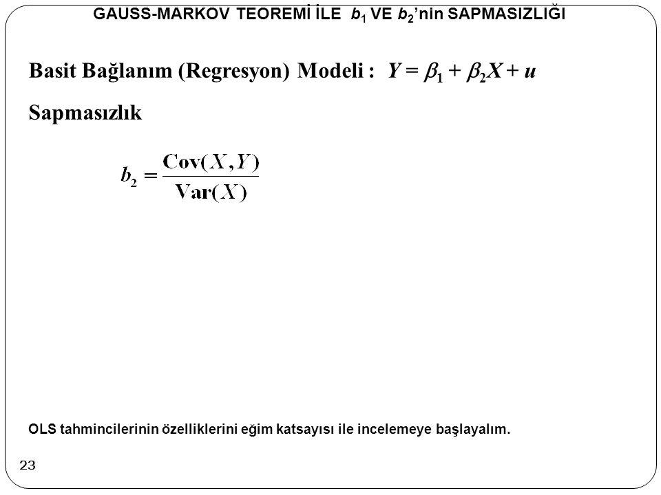 Basit Bağlanım (Regresyon) Modeli : Y =  1 +  2 X + u Sapmasızlık GAUSS-MARKOV TEOREMİ İLE b 1 VE b 2 'nin SAPMASIZLIĞI OLS tahmincilerinin özellikl
