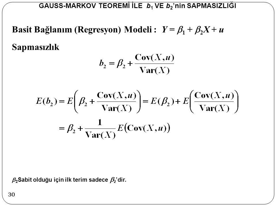 Basit Bağlanım (Regresyon) Modeli : Y =  1 +  2 X + u Sapmasızlık GAUSS-MARKOV TEOREMİ İLE b 1 VE b 2 'nin SAPMASIZLIĞI  2 Sabit olduğu için ilk te