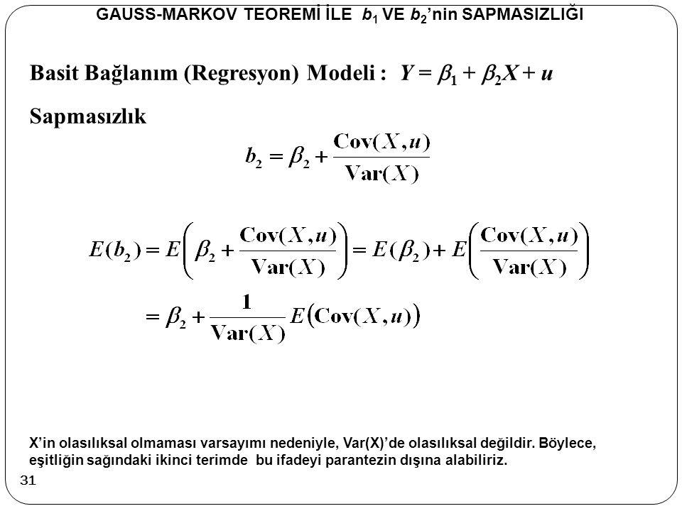 Basit Bağlanım (Regresyon) Modeli : Y =  1 +  2 X + u Sapmasızlık GAUSS-MARKOV TEOREMİ İLE b 1 VE b 2 'nin SAPMASIZLIĞI X'in olasılıksal olmaması va