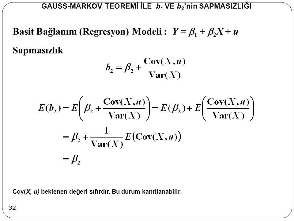 Basit Bağlanım (Regresyon) Modeli : Y =  1 +  2 X + u Sapmasızlık GAUSS-MARKOV TEOREMİ İLE b 1 VE b 2 'nin SAPMASIZLIĞI Cov(X, u) beklenen değeri sı