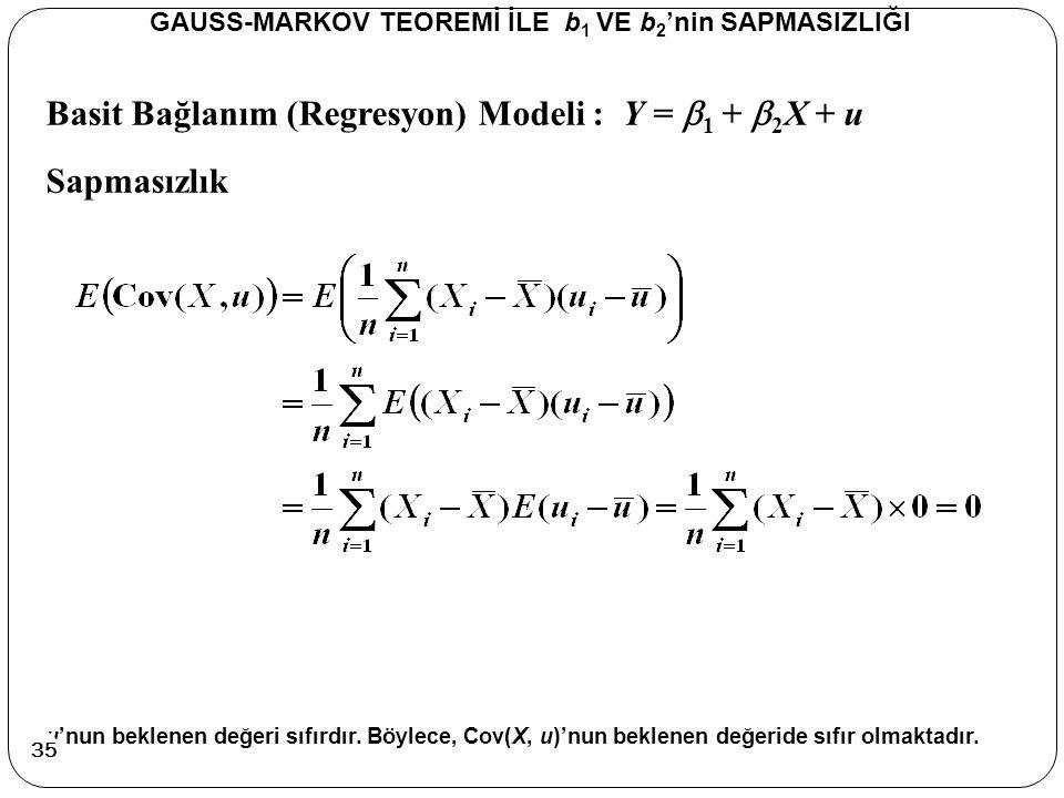 Basit Bağlanım (Regresyon) Modeli : Y =  1 +  2 X + u Sapmasızlık GAUSS-MARKOV TEOREMİ İLE b 1 VE b 2 'nin SAPMASIZLIĞI u'nun beklenen değeri sıfırd