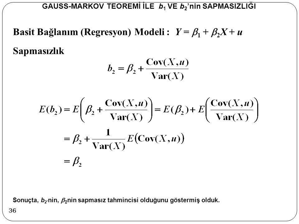 Basit Bağlanım (Regresyon) Modeli : Y =  1 +  2 X + u Sapmasızlık GAUSS-MARKOV TEOREMİ İLE b 1 VE b 2 'nin SAPMASIZLIĞI Sonuçta, b 2' nin,  2 nin s