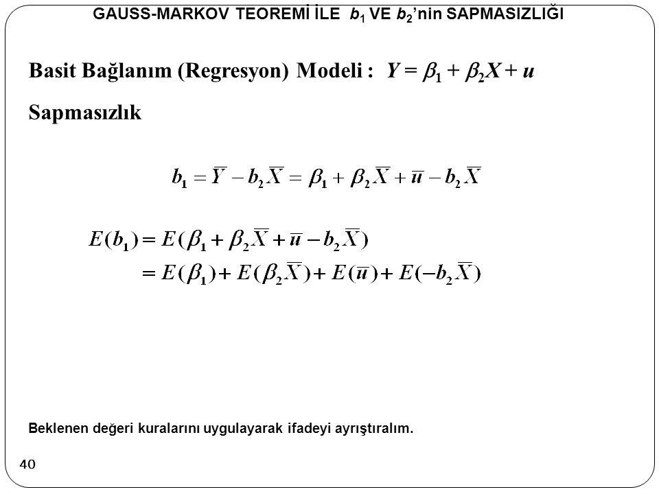 Basit Bağlanım (Regresyon) Modeli : Y =  1 +  2 X + u Sapmasızlık GAUSS-MARKOV TEOREMİ İLE b 1 VE b 2 'nin SAPMASIZLIĞI Beklenen değeri kuralarını u