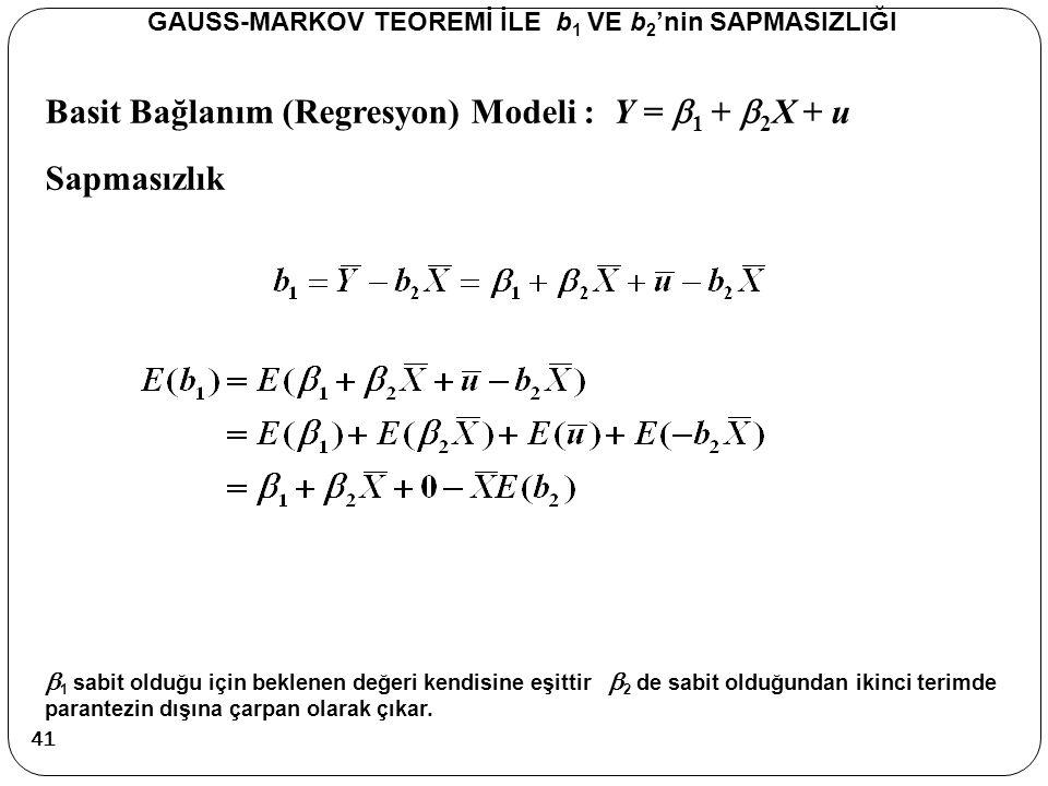 Basit Bağlanım (Regresyon) Modeli : Y =  1 +  2 X + u Sapmasızlık GAUSS-MARKOV TEOREMİ İLE b 1 VE b 2 'nin SAPMASIZLIĞI  1 sabit olduğu için beklen