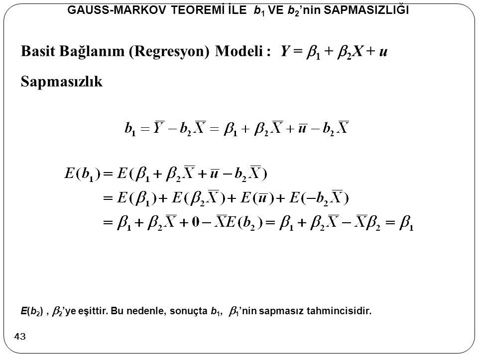 Basit Bağlanım (Regresyon) Modeli : Y =  1 +  2 X + u Sapmasızlık GAUSS-MARKOV TEOREMİ İLE b 1 VE b 2 'nin SAPMASIZLIĞI E(b 2 ),  2 'ye eşittir. Bu