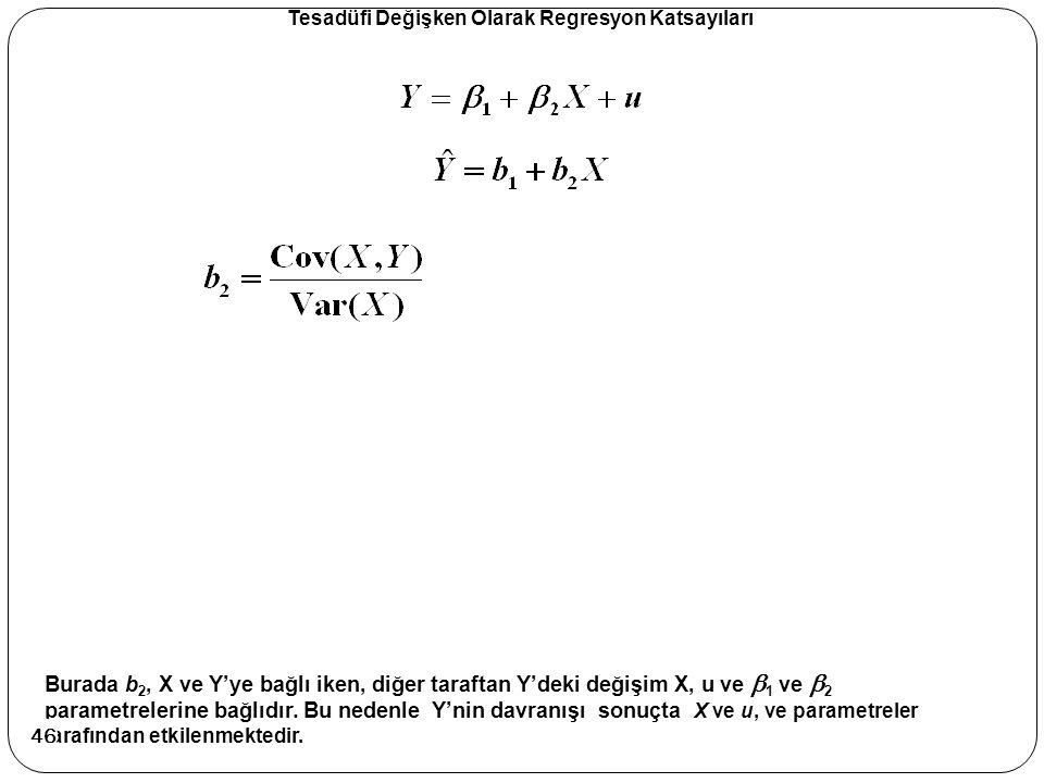 Tesadüfi Değişken Olarak Regresyon Katsayıları Burada b 2, X ve Y'ye bağlı iken, diğer taraftan Y'deki değişim X, u ve  1 ve  2 parametrelerine bağl