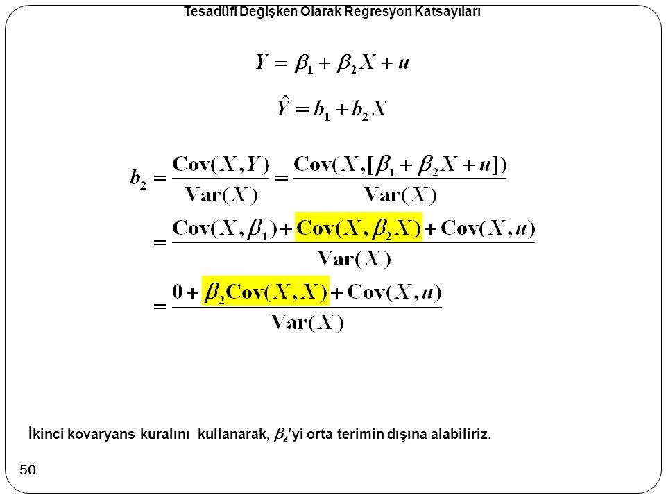 Tesadüfi Değişken Olarak Regresyon Katsayıları İkinci kovaryans kuralını kullanarak,  2 'yi orta terimin dışına alabiliriz. 50