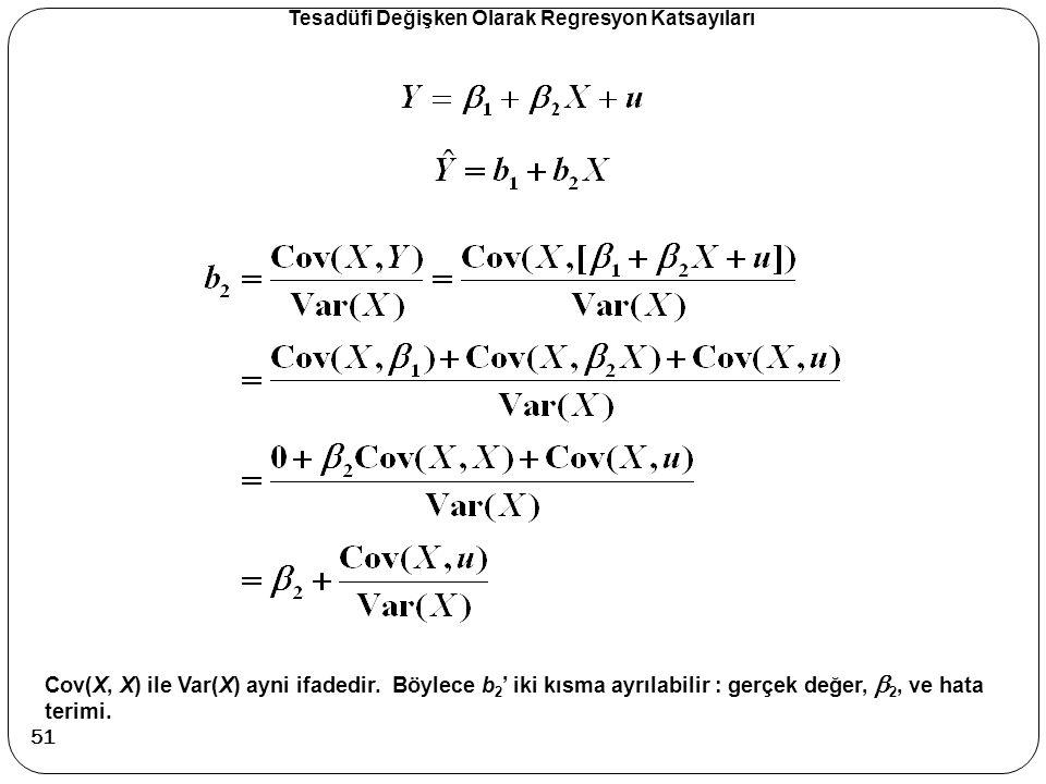 Tesadüfi Değişken Olarak Regresyon Katsayıları Cov(X, X) ile Var(X) ayni ifadedir. Böylece b 2 ' iki kısma ayrılabilir : gerçek değer,  2, ve hata te