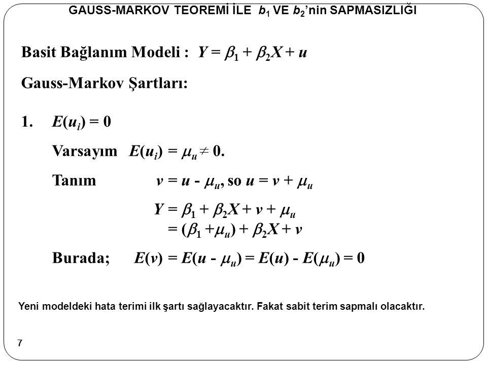 Basit Bağlanım (Regresyon) Modeli : Y =  1 +  2 X + u Sapmasızlık GAUSS-MARKOV TEOREMİ İLE b 1 VE b 2 'nin SAPMASIZLIĞI Gerçek modeli kullanarak Y'nin ortalamasını yerine yazalım.