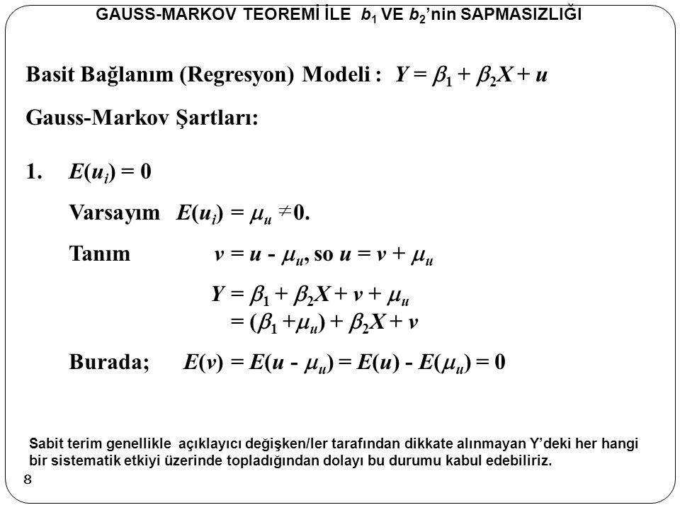Basit Bağlanım (Regresyon) Modeli : Y =  1 +  2 X + u Sapmasızlık GAUSS-MARKOV TEOREMİ İLE b 1 VE b 2 'nin SAPMASIZLIĞI Beklenen değeri aldığımızda eşitliğin sağ tarafı yukarıdaki şekilde ayrışır.