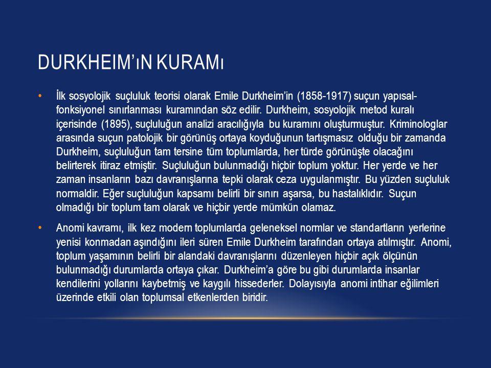 DURKHEIM'ıN KURAMı İlk sosyolojik suçluluk teorisi olarak Emile Durkheim'in (1858-1917) suçun yapısal- fonksiyonel sınırlanması kuramından söz edilir.