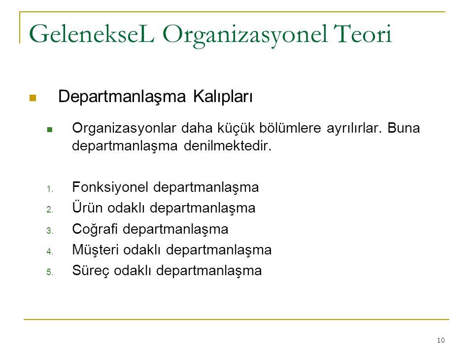 10 GelenekseL Organizasyonel Teori Departmanlaşma Kalıpları Organizasyonlar daha küçük bölümlere ayrılırlar. Buna departmanlaşma denilmektedir. 1. Fon