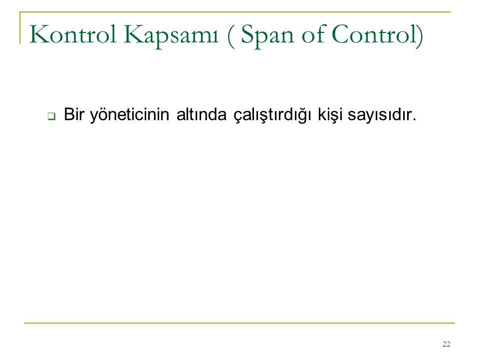22 Kontrol Kapsamı ( Span of Control)  Bir yöneticinin altında çalıştırdığı kişi sayısıdır.