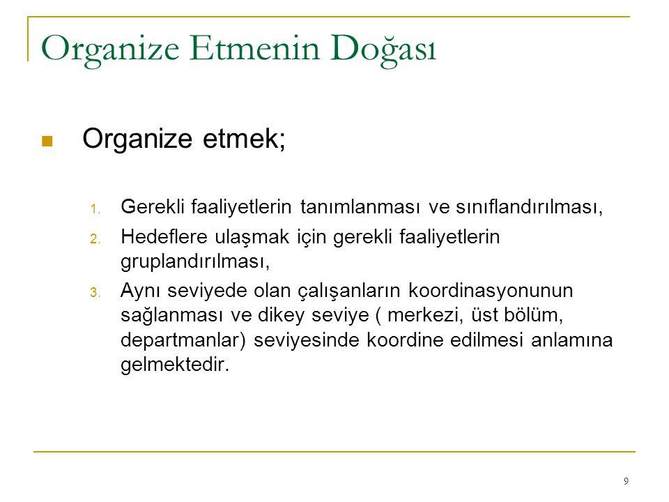 9 Organize Etmenin Doğası Organize etmek; 1. Gerekli faaliyetlerin tanımlanması ve sınıflandırılması, 2. Hedeflere ulaşmak için gerekli faaliyetlerin