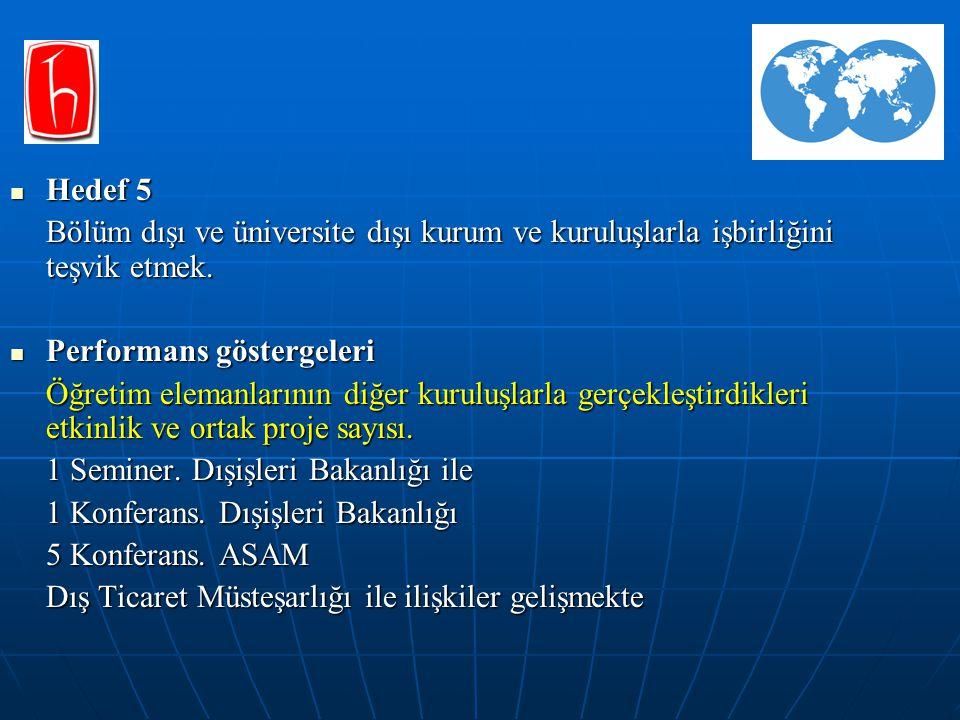 Hedef 5 Hedef 5 Bölüm dışı ve üniversite dışı kurum ve kuruluşlarla işbirliğini teşvik etmek.