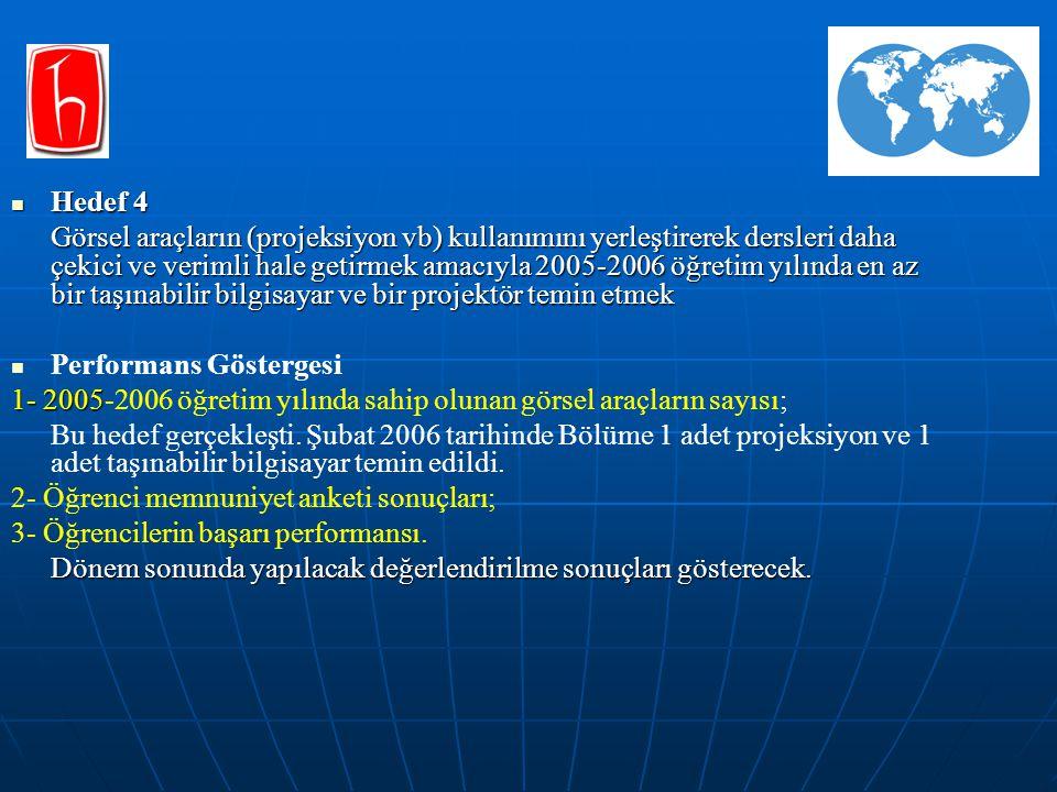 Hedef 4 Hedef 4 Görsel araçların (projeksiyon vb) kullanımını yerleştirerek dersleri daha çekici ve verimli hale getirmek amacıyla 2005-2006 öğretim y
