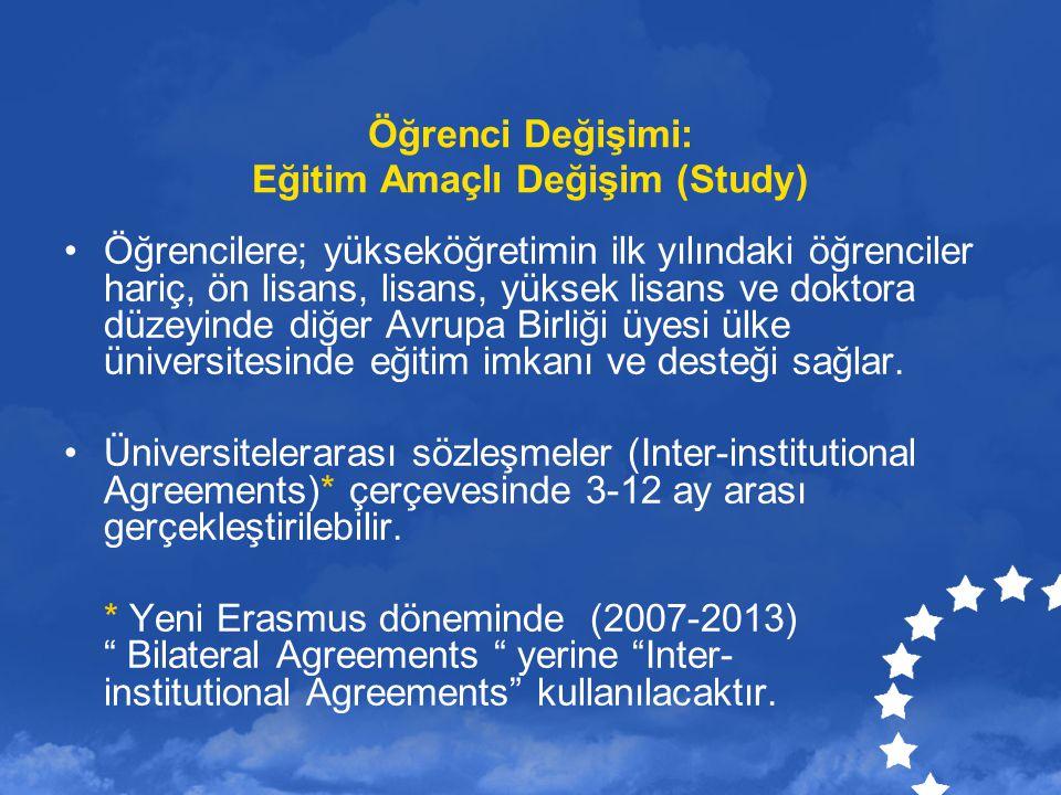 Öğrenci Değişimi: Eğitim Amaçlı Değişim (Study) Öğrencilere; yükseköğretimin ilk yılındaki öğrenciler hariç, ön lisans, lisans, yüksek lisans ve dokto