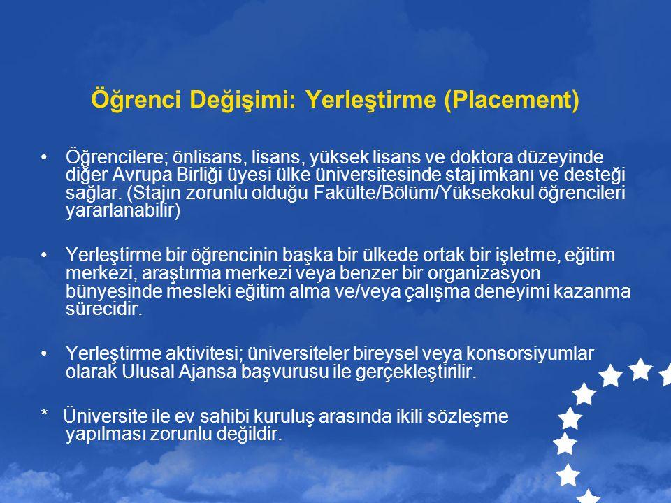 Öğrenci Değişimi: Yerleştirme (Placement) Öğrencilere; önlisans, lisans, yüksek lisans ve doktora düzeyinde diğer Avrupa Birliği üyesi ülke üniversite