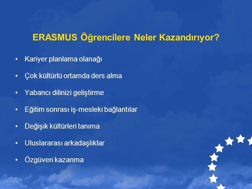 ERASMUS Öğrencilere Neler Kazandırıyor? Kariyer planlama olanağı Çok kültürlü ortamda ders alma Yabancı dilinizi geliştirme Eğitim sonrası iş-mesleki