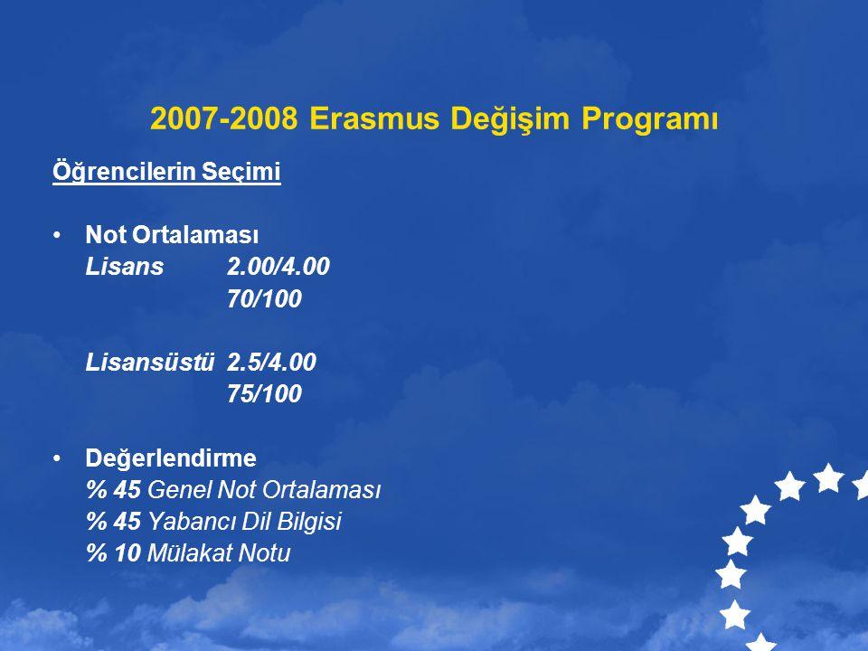 2007-2008 Erasmus Değişim Programı Kredi 1 Yarıyıl için 24 – 30 ECTS Başarı Durumu Aldıkları derslerin 2/3 den başarılı olmayan öğrencilere burslarının geri kalan kısmı ödenmeyecek Aylık Hibe % 80 Öğrenci yurt dışına giderken peşin ödenecek % 20 si döndükten sonra ödenecek