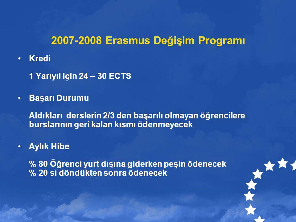 2007-2008 Erasmus Değişim Programı Kredi 1 Yarıyıl için 24 – 30 ECTS Başarı Durumu Aldıkları derslerin 2/3 den başarılı olmayan öğrencilere burslarını