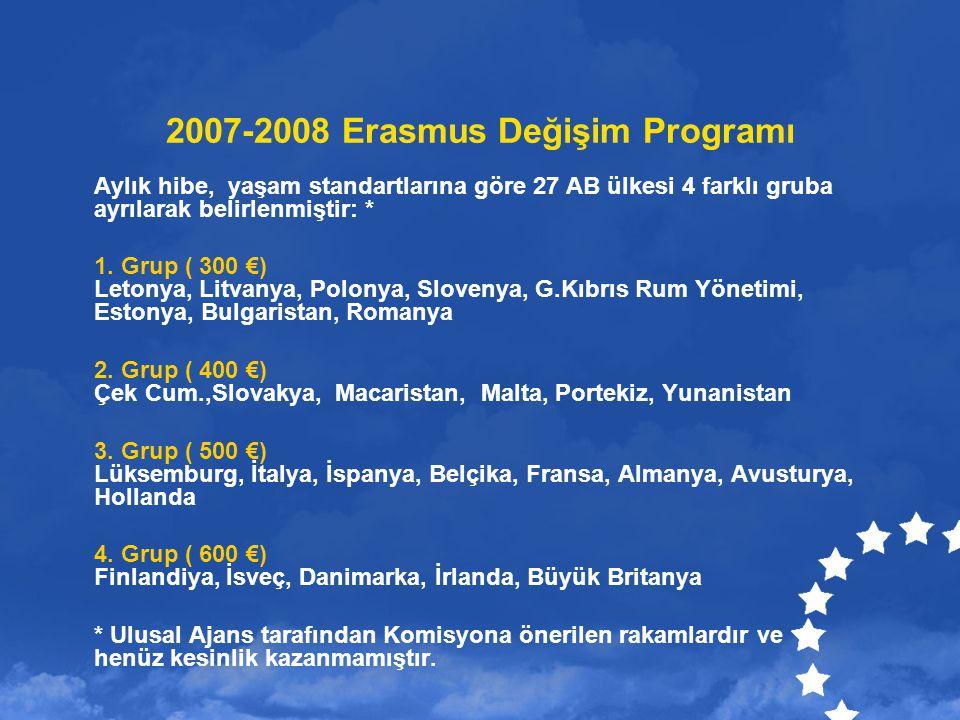 2007-2008 Erasmus Değişim Programı Aylık hibe, yaşam standartlarına göre 27 AB ülkesi 4 farklı gruba ayrılarak belirlenmiştir: * 1.