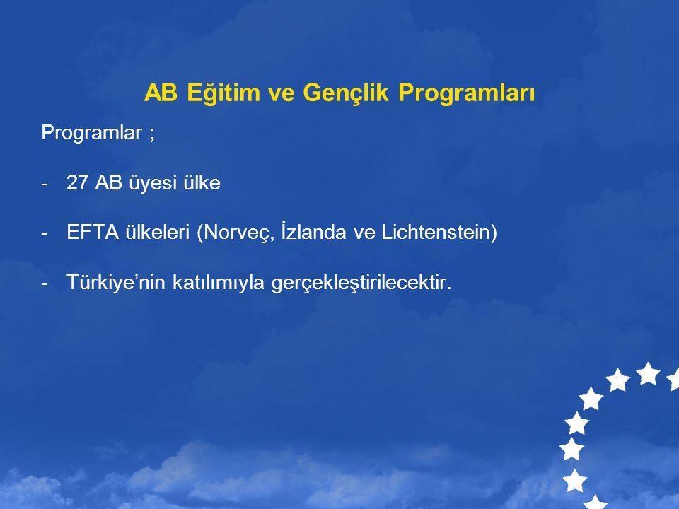 AB Eğitim ve Gençlik Programları Programlar ; -27 AB üyesi ülke -EFTA ülkeleri (Norveç, İzlanda ve Lichtenstein) -Türkiye'nin katılımıyla gerçekleştir