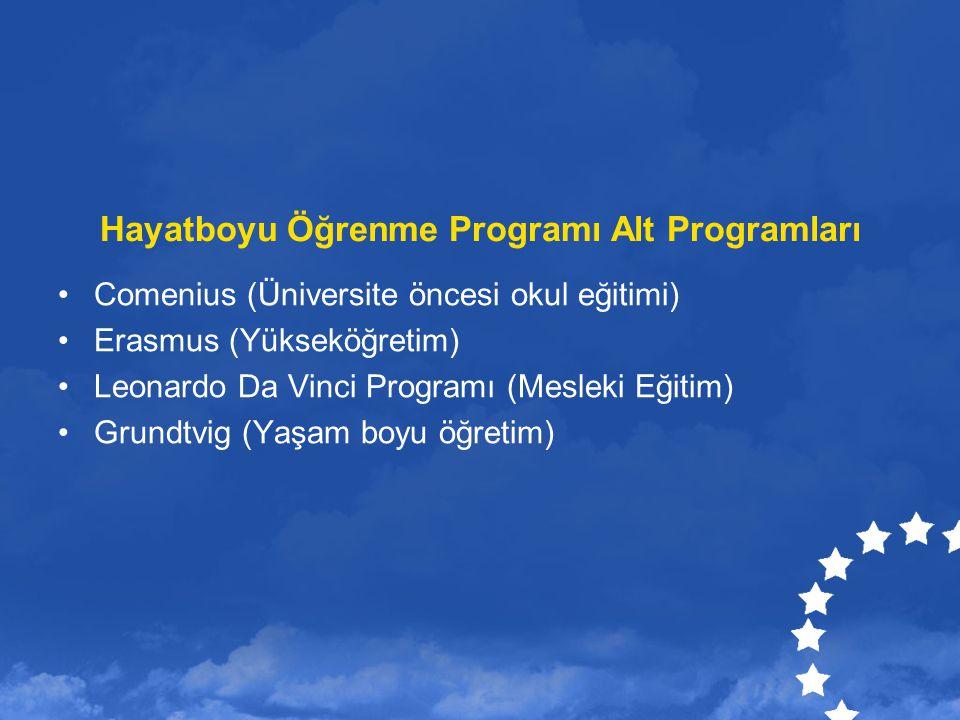Hayatboyu Öğrenme Programı Alt Programları Comenius (Üniversite öncesi okul eğitimi) Erasmus (Yükseköğretim) Leonardo Da Vinci Programı (Mesleki Eğiti