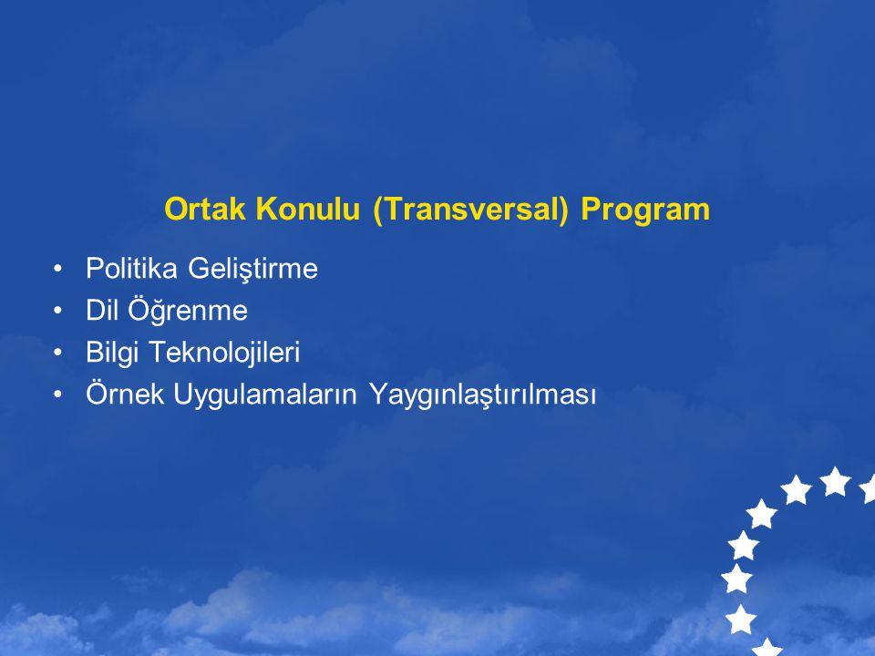 Ortak Konulu (Transversal) Program Politika Geliştirme Dil Öğrenme Bilgi Teknolojileri Örnek Uygulamaların Yaygınlaştırılması