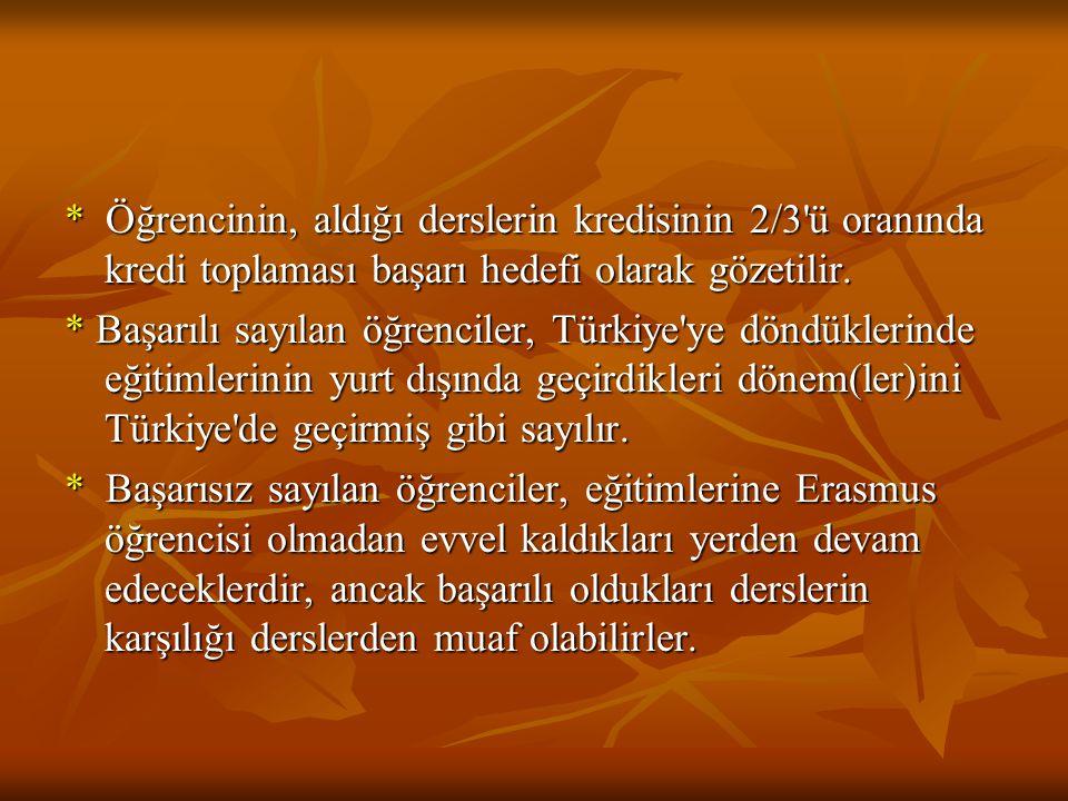 * Öğrencinin, aldığı derslerin kredisinin 2/3'ü oranında kredi toplaması başarı hedefi olarak gözetilir. * Başarılı sayılan öğrenciler, Türkiye'ye dön