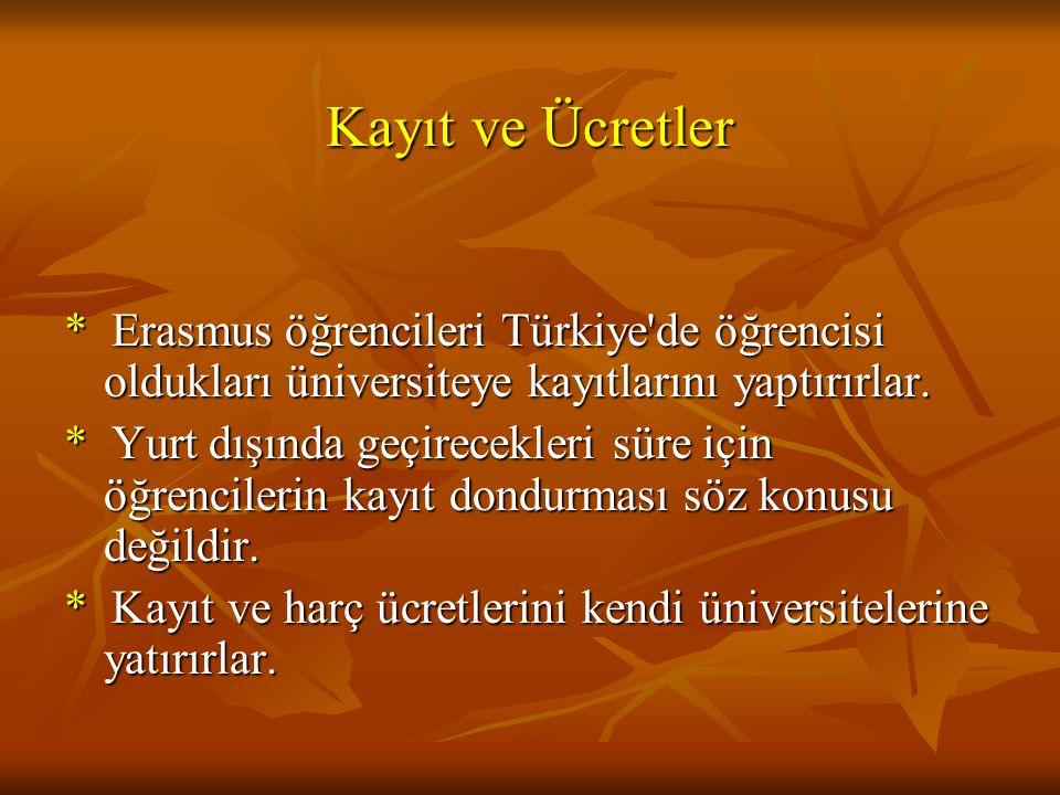Kayıt ve Ücretler * Erasmus öğrencileri Türkiye'de öğrencisi oldukları üniversiteye kayıtlarını yaptırırlar. * Yurt dışında geçirecekleri süre için öğ