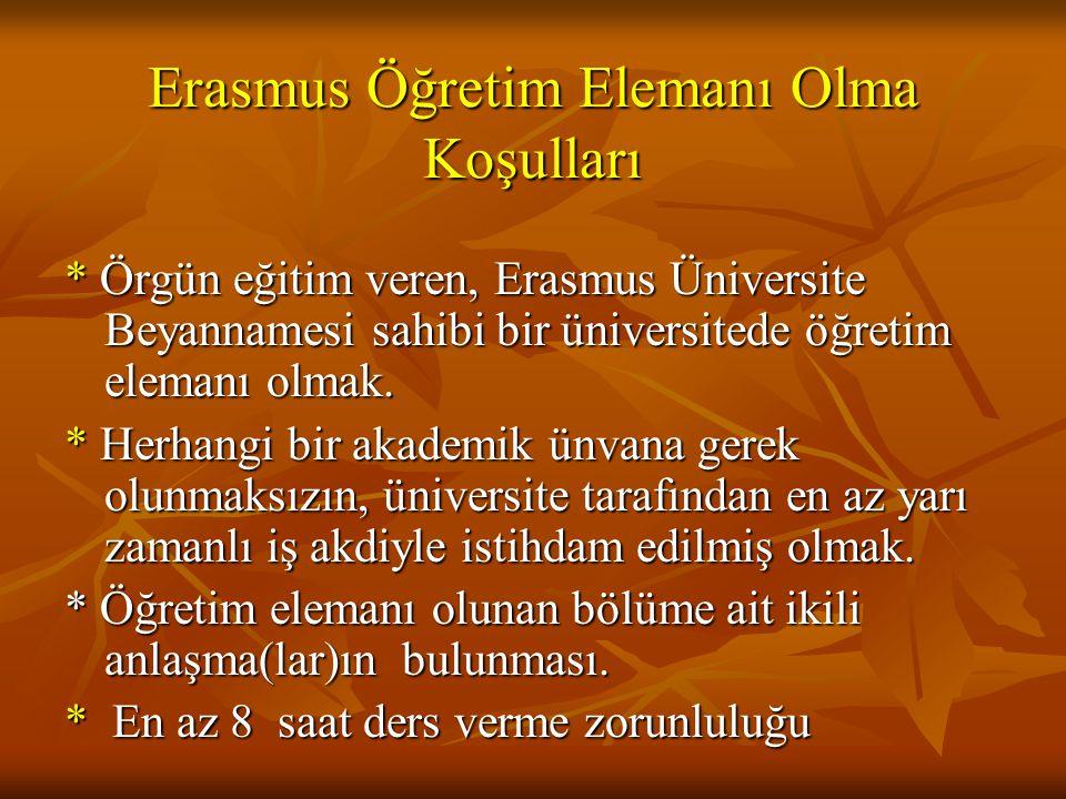 Erasmus Öğretim Elemanı Olma Koşulları * Örgün eğitim veren, Erasmus Üniversite Beyannamesi sahibi bir üniversitede öğretim elemanı olmak. * Herhangi