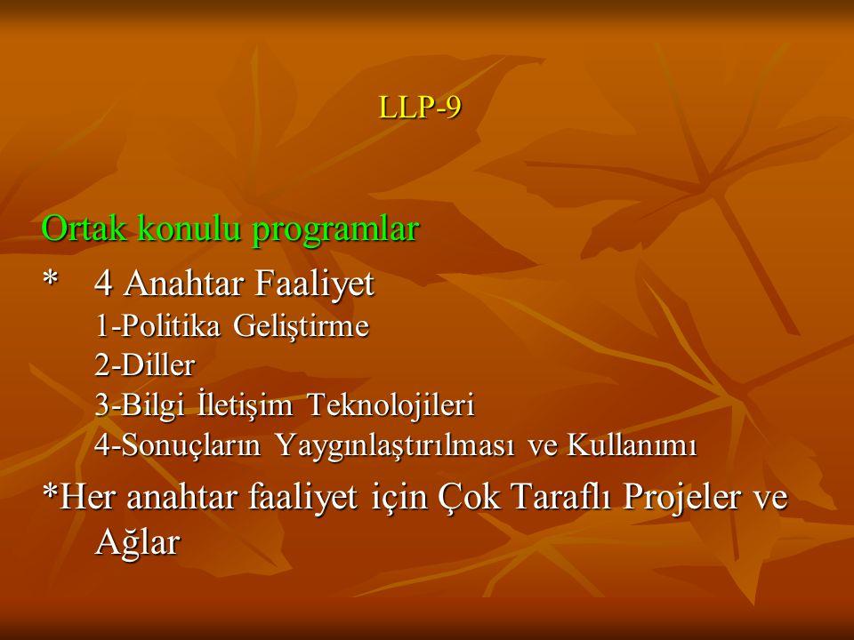 LLP-9 Ortak konulu programlar *4 Anahtar Faaliyet 1-Politika Geliştirme 2-Diller 3-Bilgi İletişim Teknolojileri 4-Sonuçların Yaygınlaştırılması ve Kullanımı *Her anahtar faaliyet için Çok Taraflı Projeler ve Ağlar