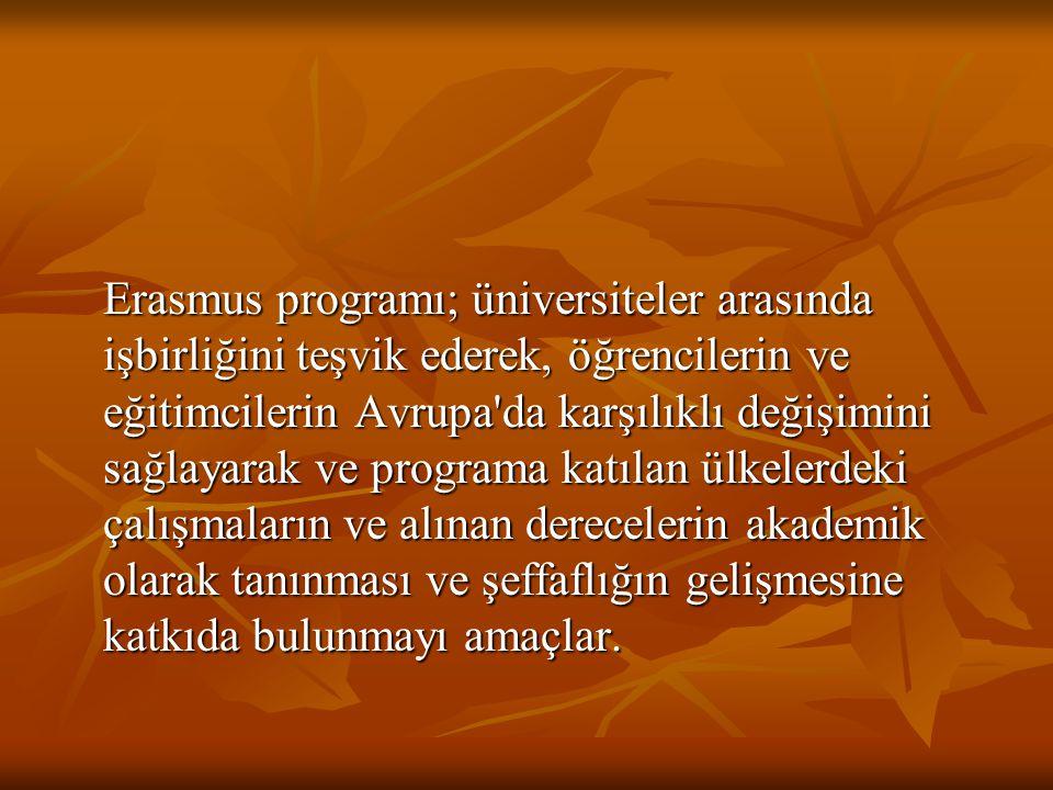 Erasmus programı; üniversiteler arasında işbirliğini teşvik ederek, öğrencilerin ve eğitimcilerin Avrupa da karşılıklı değişimini sağlayarak ve programa katılan ülkelerdeki çalışmaların ve alınan derecelerin akademik olarak tanınması ve şeffaflığın gelişmesine katkıda bulunmayı amaçlar.