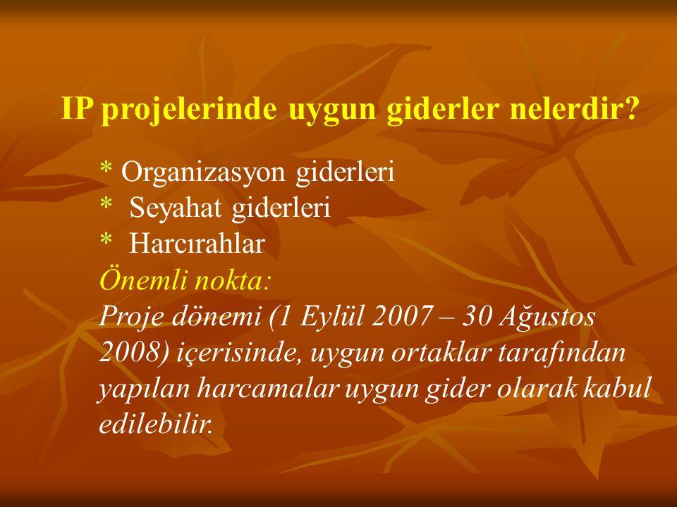 IP projelerinde uygun giderler nelerdir? * Organizasyon giderleri * Seyahat giderleri * Harcırahlar Önemli nokta: Proje dönemi (1 Eylül 2007 – 30 Ağus