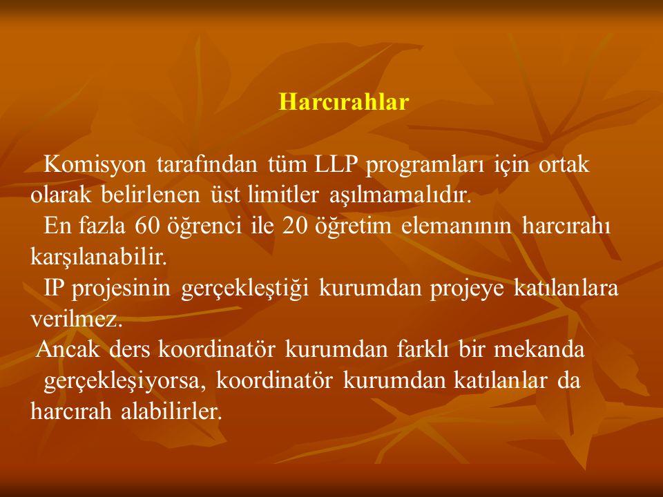 Harcırahlar Komisyon tarafından tüm LLP programları için ortak olarak belirlenen üst limitler aşılmamalıdır.