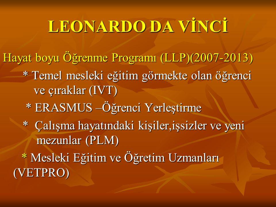 LEONARDO DA VİNCİ Hayat boyu Öğrenme Programı (LLP)(2007-2013) * Temel mesleki eğitim görmekte olan öğrenci ve çıraklar (IVT) * Temel mesleki eğitim görmekte olan öğrenci ve çıraklar (IVT) * ERASMUS –Öğrenci Yerleştirme * ERASMUS –Öğrenci Yerleştirme * Çalışma hayatındaki kişiler,işsizler ve yeni mezunlar (PLM) * Çalışma hayatındaki kişiler,işsizler ve yeni mezunlar (PLM) *Mesleki Eğitim ve Öğretim Uzmanları (VETPRO) *Mesleki Eğitim ve Öğretim Uzmanları (VETPRO)