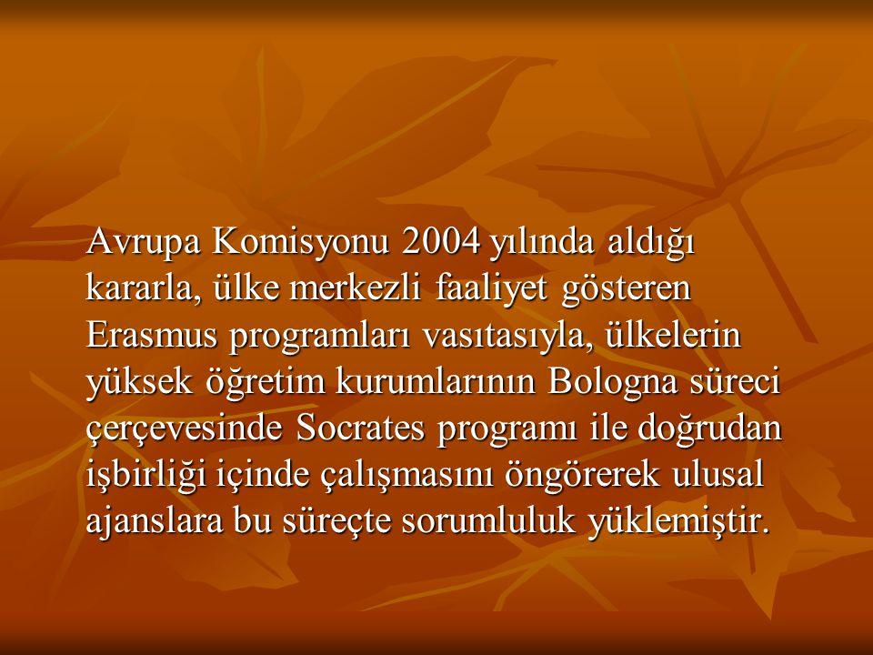 Avrupa Komisyonu 2004 yılında aldığı kararla, ülke merkezli faaliyet gösteren Erasmus programları vasıtasıyla, ülkelerin yüksek öğretim kurumlarının B
