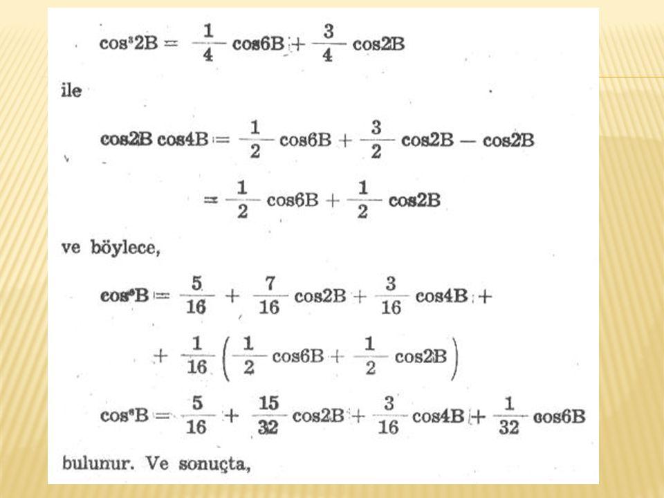 Enlemleri B 1 ve B 2 olan aynı meridyen üzerindeki iki nokta arasındaki meridyen yayı uzunluğunu hesaplamak için seri eşitliği G= E 0 (B 2 -B 1 )+E 2 (sin2B 2 -sin2B 1 )+E 4 (sin4B 2 -sin4B 1 )+ E 6 (sin6B 2 -sin6B 1 )+ E 8 (sin8B 2 -sin8B 1 ) Ekvatordan itibaren noktaya kadar meridyen yayı uzunluğu yukarıdaki eşitlikte B 1 =0 alınarak G= E 0 B o +E 2 sin2B+E 4 sin4B+E 6 sin6B+E 8 sin8B Ekvatordan itibaren noktaya kadar meridyen yayı uzunluğu G biliniyorken noktanın elipsoidal enlemini hesaplamak için B =  + F 2 sin2  + F 4 sin4  + F 6 sin6  + F 8 sin8 