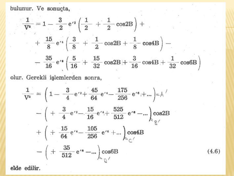 Bu katsayılar: Hayford elipsoidi için GRS-80 elipsoidi için E 0 = 111 136.536655 E 0 = 111132.952547 E 2 = - 16 107.034677 E 2 = -16038.508742 E 4 = 16.976211 E 4 = 16.832613 E 6 = - 0.022266 E 6 = - 0.021984 E 8 = - 0.000032 E 8 = 0.000031 F 2 = 0.144930070639213 F 2 = 0.144318133490823 F 4 = 0.000213850491377 F 4 = 0.000212048430412 F 6 = 0.000000432391570 F 6 = 0.000000426935816 F 8 = 0.000000000930457 F 8 = 0.000000000915105