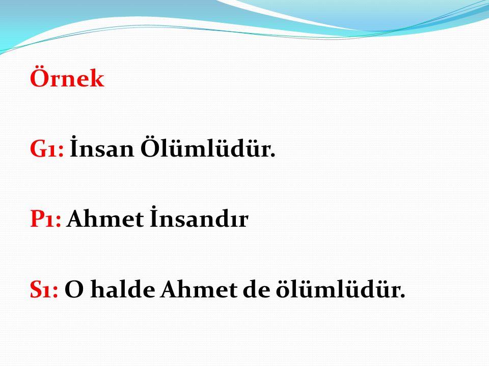 Örnek G1: İnsan Ölümlüdür. P1: Ahmet İnsandır S1: O halde Ahmet de ölümlüdür.