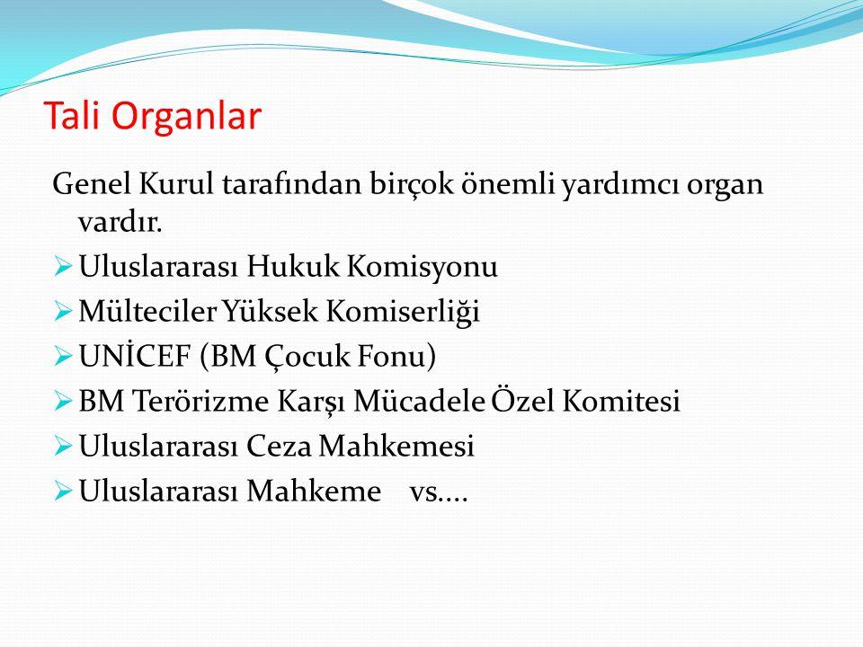 Tali Organlar Genel Kurul tarafından birçok önemli yardımcı organ vardır.