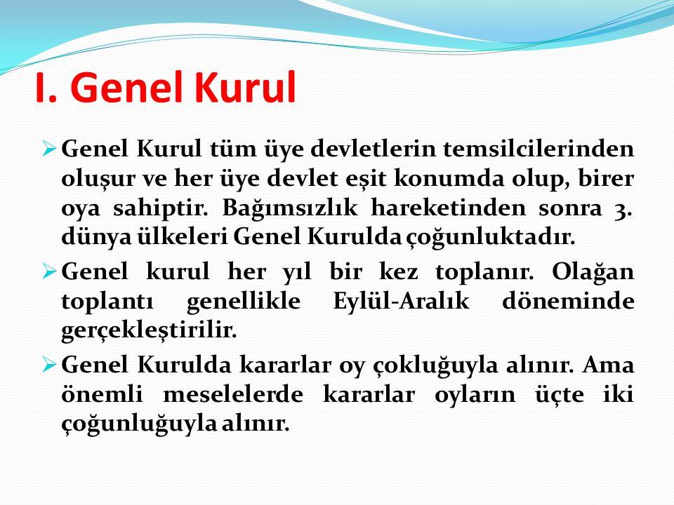 I. Genel Kurul  Genel Kurul tüm üye devletlerin temsilcilerinden oluşur ve her üye devlet eşit konumda olup, birer oya sahiptir. Bağımsızlık hareketi