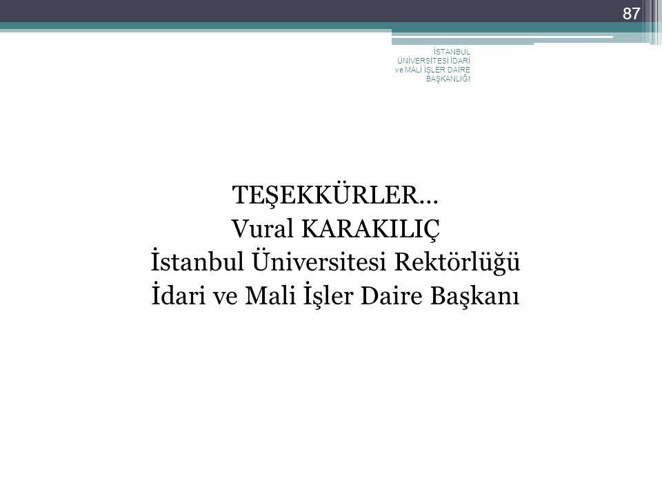 TEŞEKKÜRLER... Vural KARAKILIÇ İstanbul Üniversitesi Rektörlüğü İdari ve Mali İşler Daire Başkanı İSTANBUL ÜNİVERSİTESİ İDARİ ve MALİ İŞLER DAİRE BAŞK